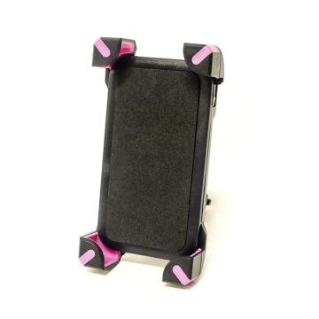 Универсальный держатель смартфонов для велосипедов (пластик, черно-розовый, угловые крепление)
